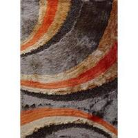 Vibrant Waves Design Brown and Orange Shaggy Rug Runner - 2' x 7'5""