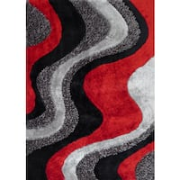 Abstract Wave-pattern Black/Grey/Red Polyester Shaggy Runner Rug - 2' x 7'5""