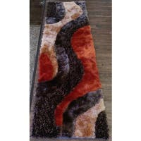 Brown/Beige/Orange Polyester Rug Runner with Abstract Wave Design - 2' x 7'5""