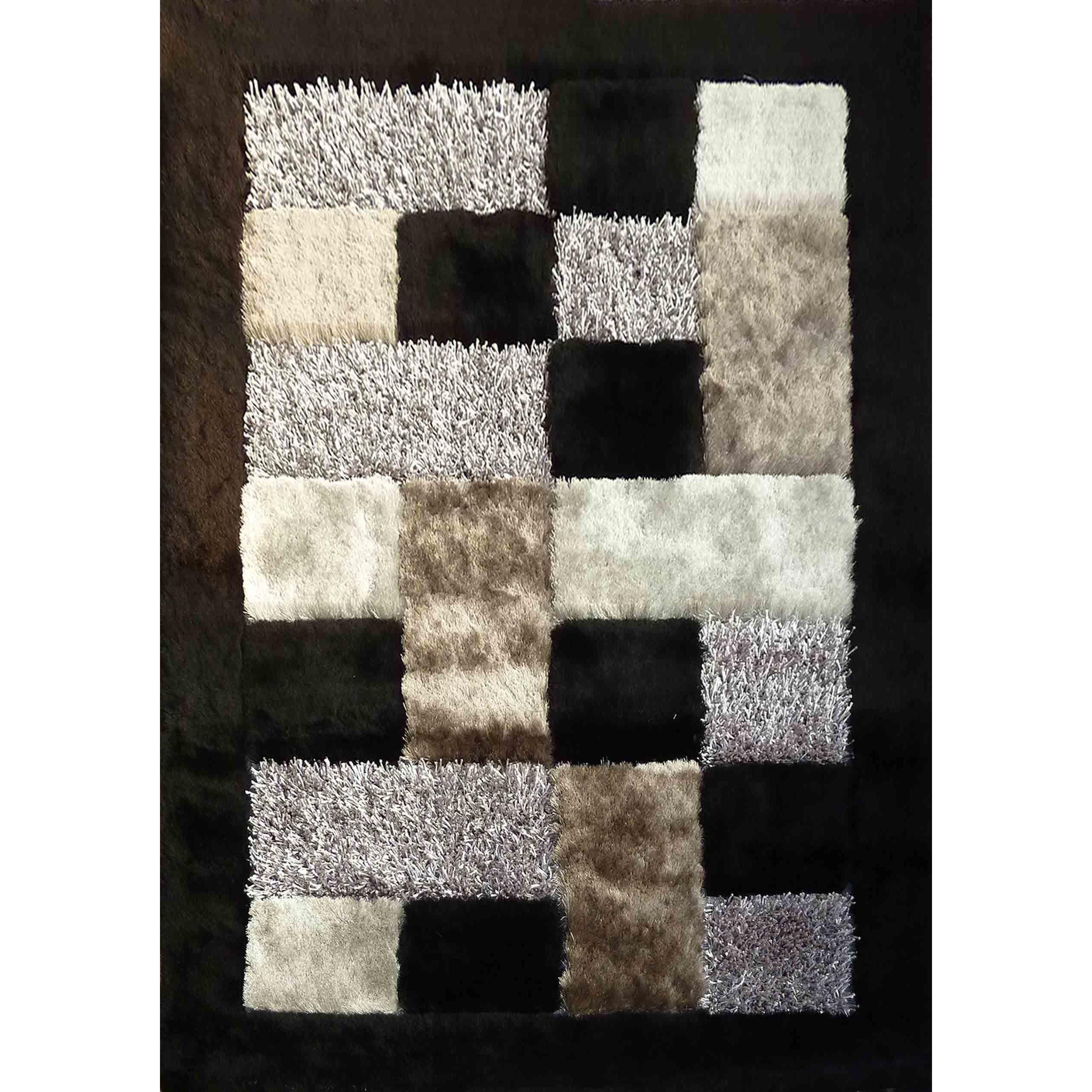 Checked Black Grey Rug: Abstract Black/Grey/Silver Polyester Hand-tufted Checker