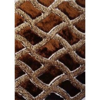 "Modern Beige/Brown Polyester Shag Runner Rug (2' x 7'5"")"