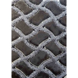 "Vibrant Net-pattern Black/Grey/Silver Polyester Shaggy Runner Rug (2' x 7'5"")"
