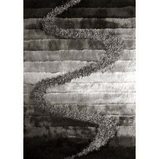 """Grey/Black/Silver Polyester Abstract Vibrant Gradient Design Shaggy Runner Rug (2' x 7'5) - 2' x 7'5"""""""