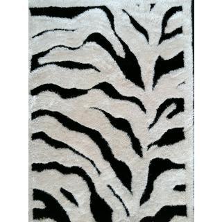 Vibrant Abstract Zebra-design Black/White Hand-tufted Polyester Shaggy Runner Rug (2' x 7'5)