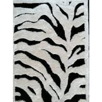 """Vibrant Abstract Zebra-design Black/White Hand-tufted Polyester Shaggy Runner Rug - 2' x 7'5"""""""