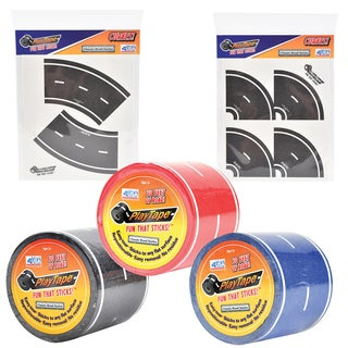 PlayTape Classic Road Series Bundle 30 ft. x 2 in. Black Blue and Red Road with 8 Tight Curves and 4 Broad Curves