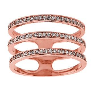Eternally Haute Rose Gold-Plated Pave Three-Row Ring - Pink