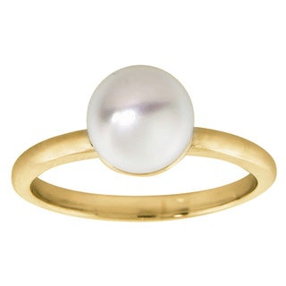 Eternally Haute Goldplated Solid Sterling Silver and Freshwater Pearl Solitaire Ring