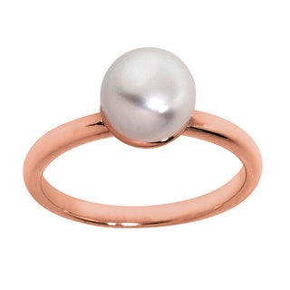 Eternally Haute 14K Rose Gold Plated Sterling Silver Freshwater Pearl Solitaire Ring - Pink