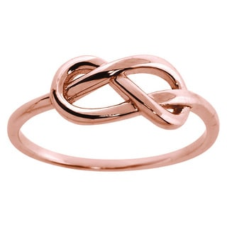 Eternally Haute 14k Rose Gold-plated Sterling Silver Love Knot Ring - Pink