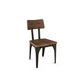 Amisco Woodland Metal Chair With Distressed Wood Seat and Backrest (Set of 2)
