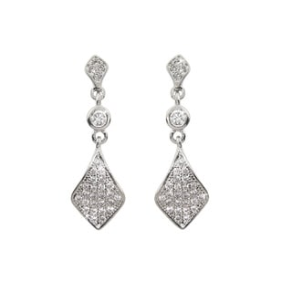 Eternally Haute Brass Cubic Zirconia Pave Champagne Drop Earrings