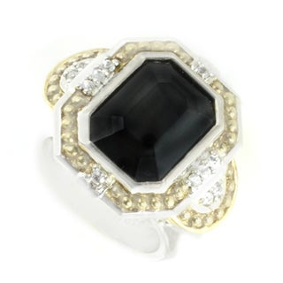 One-of-a-kind Michael Valitutti Octagon Black Onyx with White Sapphire Cocktail Ring