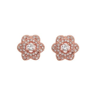 Eternally Haute 14K Rose Goldplated Cubic Zirconia-accented Pave Blossom Stud