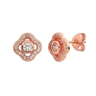 Eternally Haute 14K Rose-goldplated Pave Posey Stud Earrings