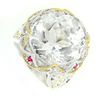 One-of-a-kind Michael Valitutti Rock Crystal (White Quartz) and Ruby Cocktail Ring