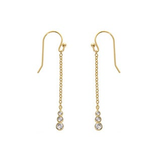 Eternally Haute 14k Gold-plated Solid Sterling Silver Bezel Drop Threader Earrings