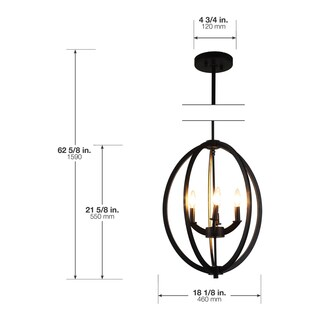 OVE Decors Dura Black Finish Iron LED Integrated 4-light Chandelier