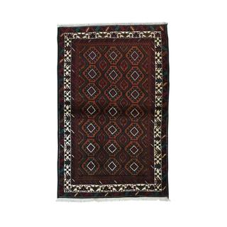 Hand-Knotted Afghan Baluch Tribal Geometric Design Rug (3'8 x 5'9)