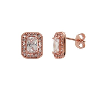 Eternally Haute 14k Rose Gold Plated Halo Stud Earrings