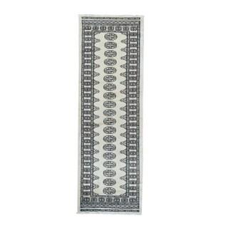Beige/Multicolor Wool Bokara Elephant-feet Design Hand-knotted Runner Rug (2'7 x 7'10)
