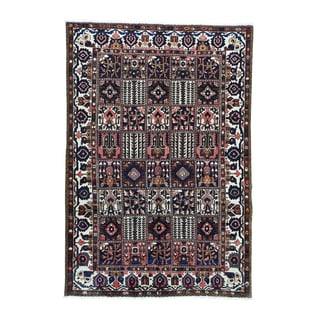 1800getarug Bakhtiari Blue/ Brown/ Pink/ Orange/ Black/ Grey/ Ivory Hand-knotted Semi-antique Persian Oriental Rug (7' x 10'5)