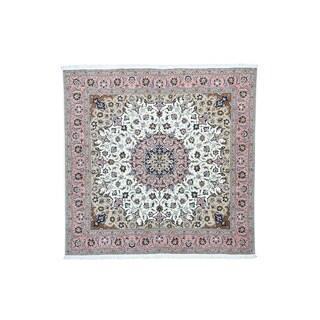 Persian Tabriz Ivory Wool and Silk 300-KPSI Square Rug (6'6 x 6'7)