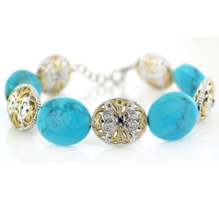 One-of-a-kind Michael Valitutti Mexican Turquoise and Blue Sapphire Bracelet