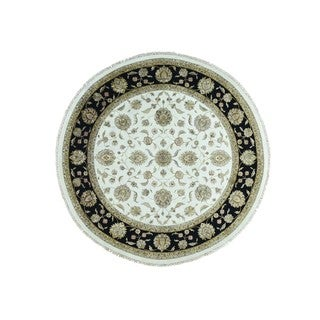 Rajasthan Black/Gold/Blue Wool and Silk Round Oriental Rug (10' x 10'1)