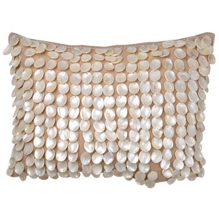 Dashiell White Burlap 14-inch X 20-inch Throw Pillow with Silver Beads