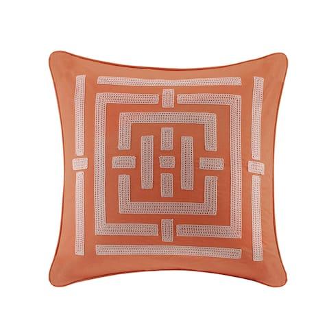 "N Natori Nara Multi Embroidered Cotton Canvas Euro Sham - 26x26"""