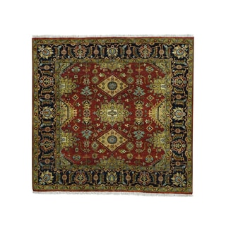 1800getarug Hand-knotted Karajeh Red Square Oriental Wool Carpet (5'10 x 6')
