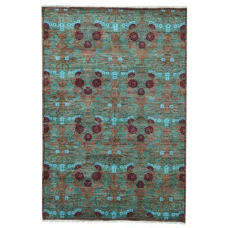 Arts and Crafts Hand-spun Wool Hand-knotted Oriental Rug (6' x 9')