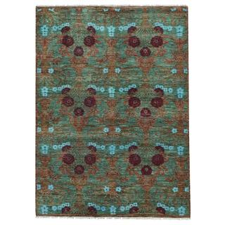 1800getarug Green/ Multicolor Hand-spun Modern Arts and Crafts Oriental Wool Rug (5'2 x 7)