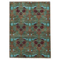 Shahbanu Rugs Green/ Multicolor Hand-spun Modern Arts and Crafts Oriental Wool Rug (5'2 x 7)