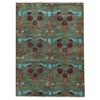 Shahbanu Rugs Green Multicolor Hand Spun Modern Arts And Crafts Oriental Wool Rug