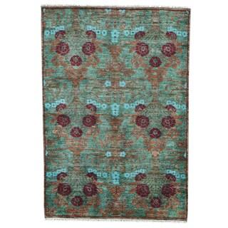 1800getarug Oriental Green Wool Modern Hand-spun Hand-knotted Rug (4' x 5'10)