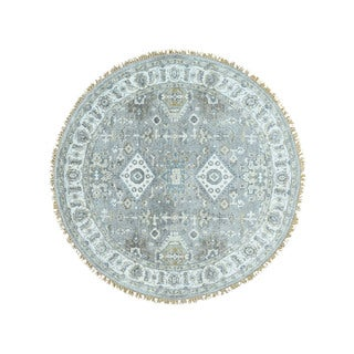 Karajeh Oriental Round Stone-washed Hand-knotted Carpet (5' x 5')