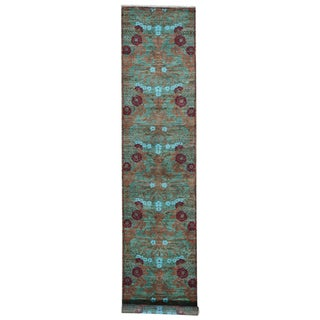 Arts And Crafts Green Hand-spun Wool Hand-knotted Oriental Runner Rug (2'7 x 12')