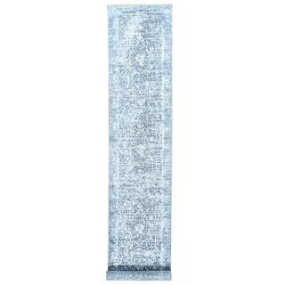 Grey/Ivory Wool and Silk Broken-design Hand-knotted XL Runner Rug (2'6 x 13'6)