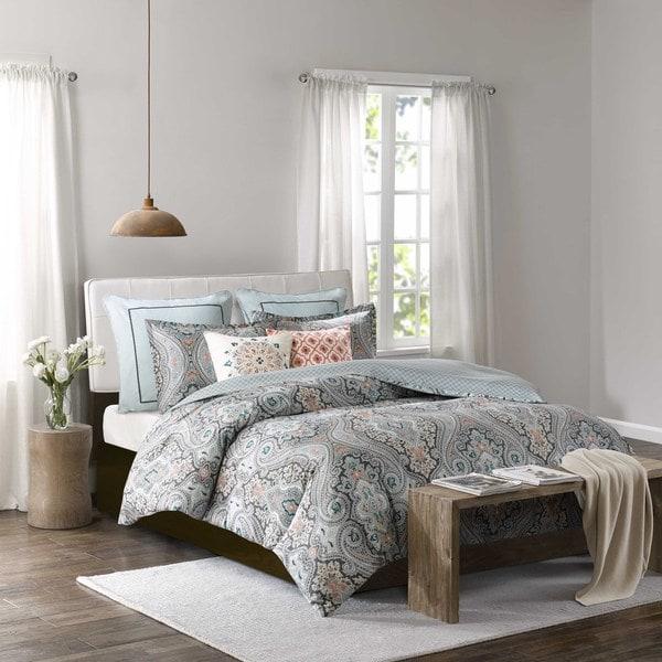 Echo Design™ Sterling Deep Green Cotton Sateen Printed Duvet Set