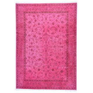 1800getarug Kashan Pink Wool/Silk 300 knots per square inch Overdyed Rug (10' x 14'1)