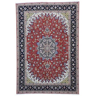 Wool and Silk Persian Tabriz 400 KPSI Oriental Rug (6'7 x 9'7)
