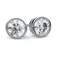 IGI Certified Platinum Bezel Round Diamond Stud Earrings 1ctw , J-K , SI
