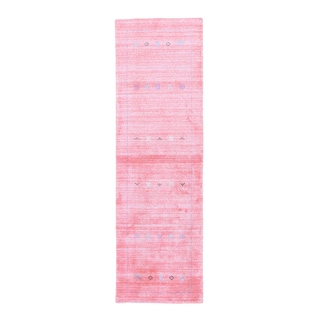 Lori Buft Gabbeh Pink Wool Hand-loomed Oriental Runner Rug (2'8 x 8')