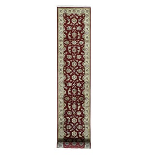 Rajasthan Red Wool/Silk Hand-knotted Runner Rug (2'7 x 14')