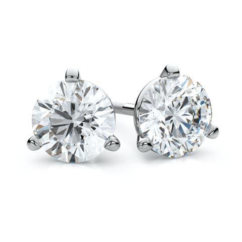 IGI Certified Platinum 3-prong Martini Round Diamond Stud Earrings 3/4ctw , H-I , SI - White H-I