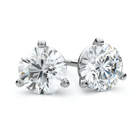 IGI Certified Platinum 3-prong Martini Round Diamond Stud Earrings 3/4ctw , F-G , VS - White G-H