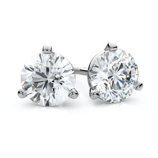 IGI Certified Platinum 3-prong Martini Round Diamond Stud Earrings 2ctw , H-I ,VS