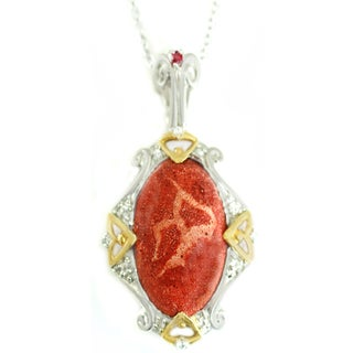 One-of-a-kind Michael Valitutti Sponge Coral with Ruby and White Sapphire Pendant
